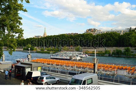 PARIS, FRANCE - AUGUST 10, 2015: view on Seine river. Paris, aka City of Love, is a popular travel destination and a major city in Europe