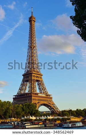 PARIS, FRANCE - AUGUST 10, 2015: view on the Eiffel tower. The Eiffel tower is the most visited monument of France.