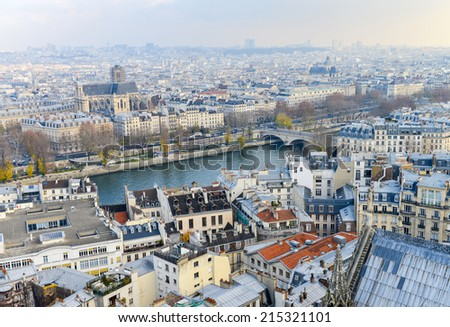 Paris, France. Beautiful city aerial view from the top of Notre Dame.