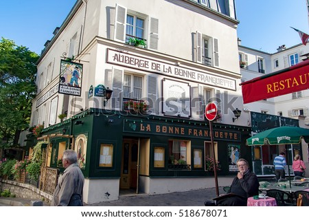PARIS, FRANCE - circa april 2016; Small business in : Montmartre . Montmartre area is most popular destinations in Paris, has lots of  cafes, restaurants, bistros, night clubs and artistic studios.