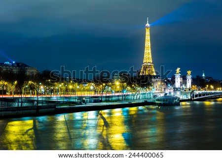 PARIS, FRANCE - CIRCA JAN 2015: The famous city of Paris at night in France.