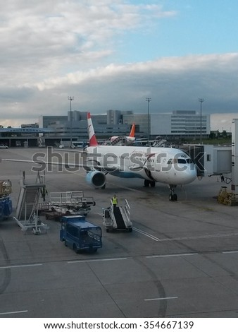 PARIS, FRANCE - CIRCA MAY 2015: Austrian Airlines aircraft parked at the airport