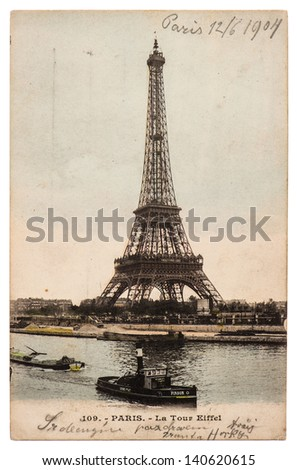 PARIS, FRANCE - CIRCA 1904: vintage postcard with picture from Eiffel Tower in Paris, France, circa 1904 - stock photo