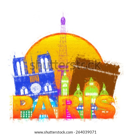 Paris France City Skyline Outline Silhouette Color in Circle Isolated on White Background Impressionist Illustration - stock photo