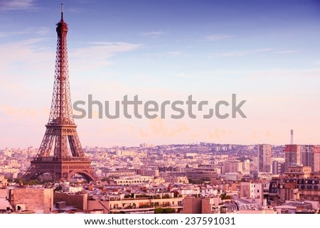 Paris, France - cityscape with Eiffel Tower in the light of sunset. UNESCO World Heritage Site. Filtered style colors. - stock photo