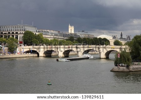 Paris, France - cityscape with river Seine and Pont Neuf bridge. UNESCO World Heritage Site. - stock photo