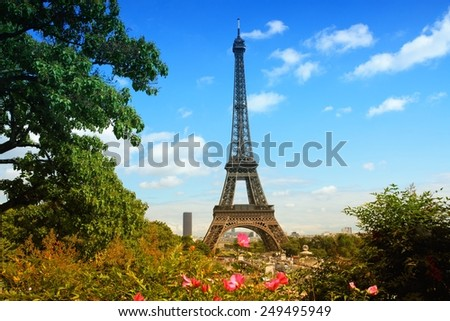 Paris, France - cityscape with Trocadero gardens and Eiffel Tower. Filtered style colors.