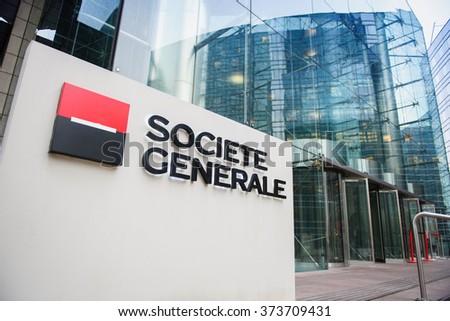 PARIS, FRANCE - DEC 3, 2014: Societe Generale Headquarter entrance in La Defense. Societe Generale is the 7th largest bank in Europe (Q4 2015) - stock photo