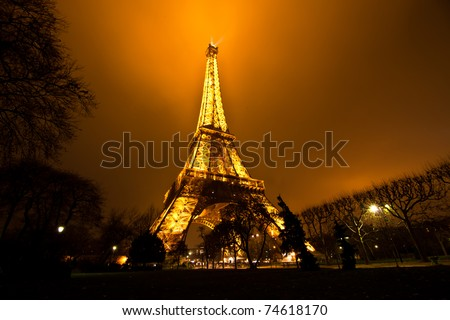 PARIS, FRANCE - DECEMBER 2: Ceremonial lighting of the Eiffel tower on  DECEMBER 2, 2010 in Paris, France. The Eiffel tower is the most visited monument of France. - stock photo