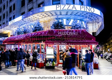 PARIS, FRANCE - 22 DECEMBER, 2014: Christmas illumination at Avenue Champs-Elysees. Champs-Elysees is one of the most famous streets in the world.