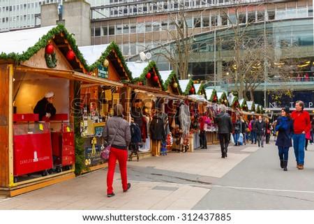 Paris, France - December 22, 2015: Christmas Market in Montparnasse - stock photo