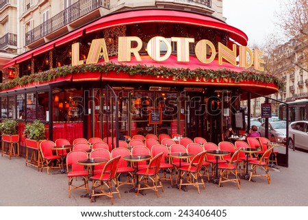 Paris, France - December 22, 2014: Famous bohemian Parisian Cafe La Rotonde. Located not far from the Montparnasse Tower. - stock photo