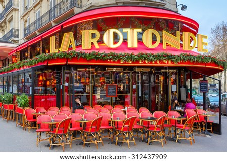 Paris, France - December 22, 2015: La Rotonde in the Montparnasse Quarter - one of the most legendary and the famous Parisian cafes. There were often Modigliani, Picasso, Chagall, Kandinsky - stock photo