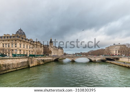 "Paris, France - December 23: The ""Conciergerie"", a historical building at the shores of the Seine river, in Paris, France. Photograph shot on December 23, 2013"