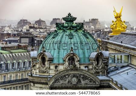 Paris, France - December 8, 2014: The late afternoon rooftop view over Paris, as seen from the top of the Paris Opera House.  Paris is one of the most popular visitor destinations in Europe.