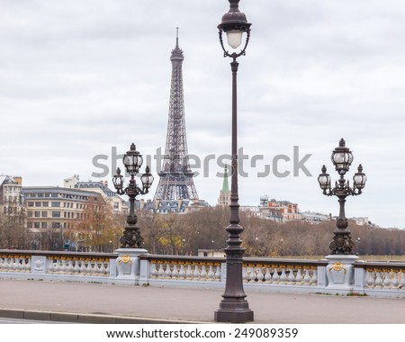 Paris, France - December 21, 2014: The River Seine and Pont Alexandre 3 through it. One of the main historical attractions of the French capital. - stock photo