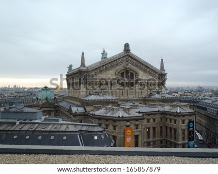 PARIS, FRANCE - DECEMBER 9: top view of Opera Garnier on December 9, 2012 in Paris, France. Opera Garnier is a popular landmark among tourists in Paris, the most visited city worldwide.