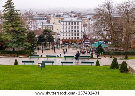 Paris, France - December 19 ,2014:  View of Paris from the observation platform of Montmartre. Montmartre hill, one of the highest points in Paris. - stock photo