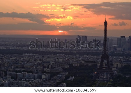 PARIS, FRANCE, Eiffel Tower at Sunset - stock photo