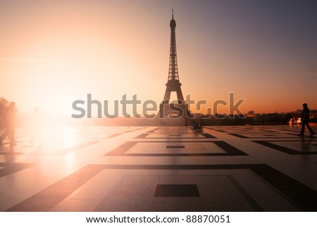 Paris, France: Eiffel Tower at sunset (or sunrise) from Trocadero. Copy space on left - stock photo