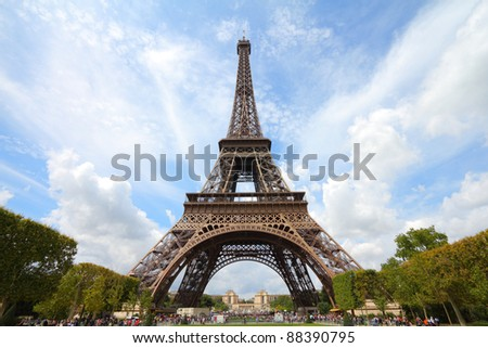 Paris, France - Eiffel Tower seen from Champ de Mars. UNESCO World Heritage Site.
