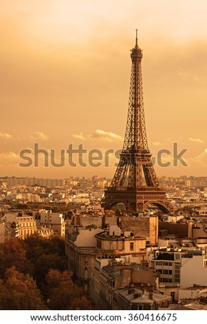 Paris, France: Eiffel Tower (Tour Eiffel) at sunset