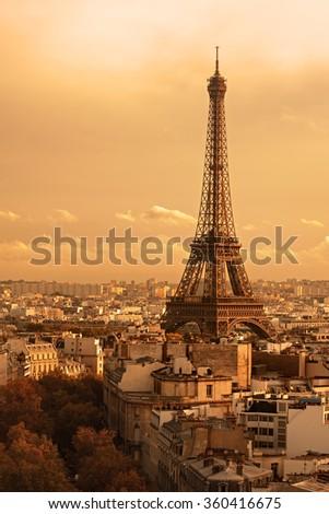 Paris, France: Eiffel Tower (Tour Eiffel) at sunset - stock photo