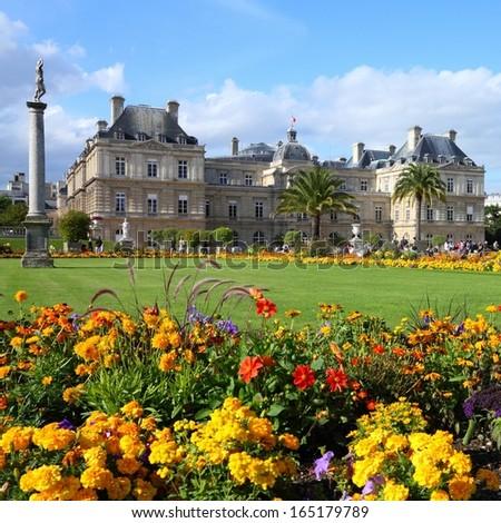 Paris, France - famous landmark, Luxembourg Palace and park. UNESCO World Heritage Site. Square composition. - stock photo