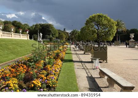 Paris, France - famous Luxembourg Gardens. UNESCO World Heritage Site. - stock photo