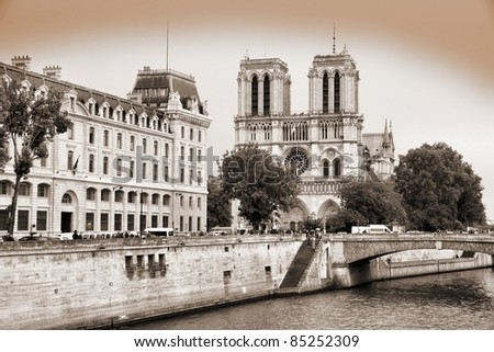 Paris, France - famous Notre Dame cathedral. UNESCO World Heritage Site. - stock photo