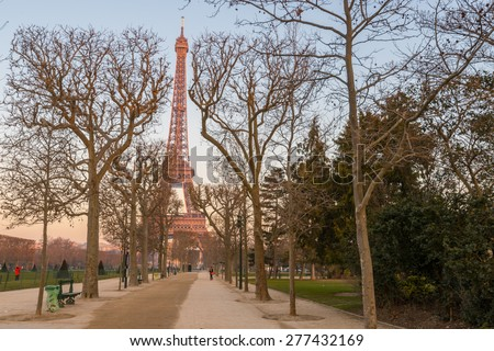 PARIS, FRANCE - FEB 13, 2015: The Eiffel Tower is one of the world's most famous landmark. It is also one of the most visited place in Paris, France. - stock photo