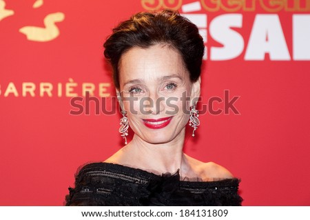 PARIS, FRANCE - FEBRUARY 25, 2011 : Actress Kristin Scott Thomas at  red carpet of the Cesar Award at the Fouquet's - stock photo