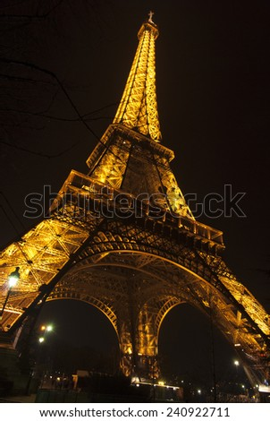 PARIS, FRANCE - FEBRUARY 12, 2012: Beautiful Eiffel Tower at night in Paris, France