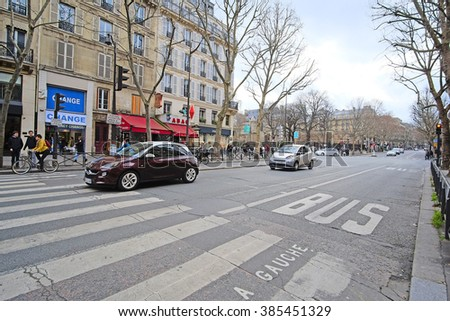 Paris, France, February 9, 2016: cars on a parking in Paris, France