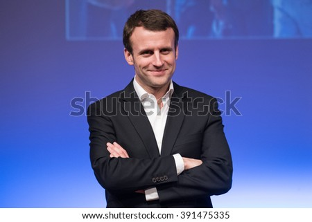 """PARIS, FRANCE - FEBRUARY 5, 2016 : Emmanuel Macron, the French minister of economy, industry and Digital  during the meeting """"Proud of our young talents"""". - stock photo"""