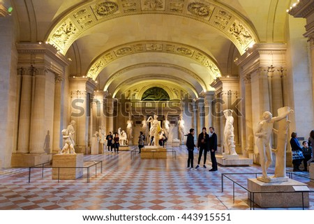 PARIS, FRANCE - FEBRUARY 24, 2016: Every day, thousands of people visit Louvre Museum collections in Paris, France, February 24, 2016.