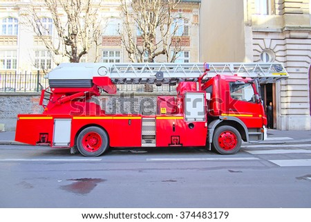 Paris, France, February 7 , 2016: fire truck on a Paris street, France