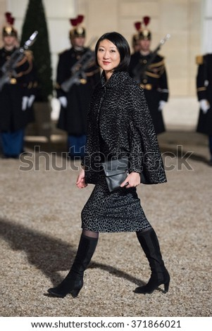 PARIS, FRANCE - FEBRUARY 1, 2016 : French Minister of Culture and Communication Fleur Pellerin arriving at the Elysee Palace for the state diner in the honor of the President of Cuba Raoul Castro.