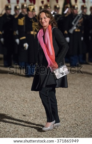 PARIS, FRANCE - FEBRUARY 1, 2016 : Minister of Ecology, Sustainable Development and Energy Segolene Royal at the Elysee Palace for the state diner in the honor of the Cuban President Raoul Castro.