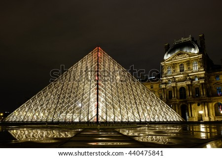 Paris, France - February 24, 2016: Night view of The Louvre museum with crystal pyramid. One of the most visited museum in the world.