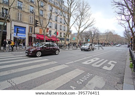 Paris, France, February 6, 2016: public transport stripe in Paris, France