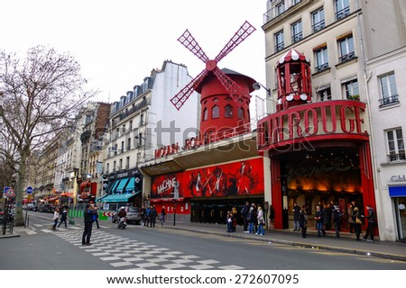 PARIS, FRANCE - FEBRUARY 25, 2012 : The famous nightlife entertainment Moulin Rouge in Paris. Pictured on February, 2012 in Paris, France. - stock photo