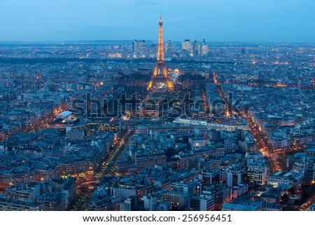 PARIS, FRANCE JANUARY 15, 2015: Aerial view on the Eiffel Tower, Arc de Triomphe, Les Invalides.