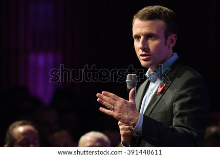 PARIS, FRANCE - JANUARY 29, 2016 : Emannuel Macron, the French Minister of Economy, gives his wishes to the French, the collective name for all those working in the French startup market.