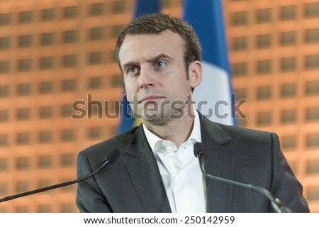 PARIS, FRANCE - JANUARY 29, 2015 : French Ministry of economy Emmanuel Macron during wishes 2015 to the press. - stock photo