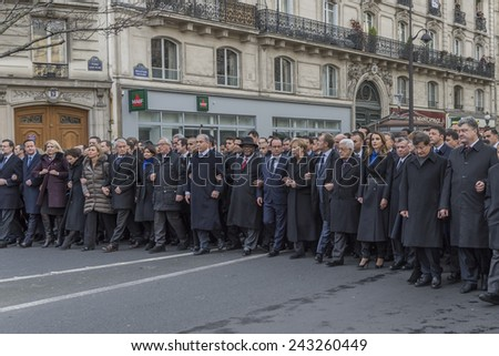 """PARIS, FRANCE - JANUARY 11, 2015 : """"Je suis Charlie"""" - Republican march organized by France following the terrorist attack against the newspaper """"Charlie Hebdo"""" - stock photo"""