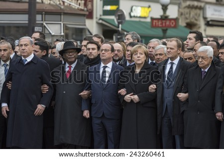 "PARIS, FRANCE - JANUARY 11, 2015 : ""Je suis Charlie"" - Republican march organized by France following the terrorist attack against the newspaper ""Charlie Hebdo"" - stock photo"