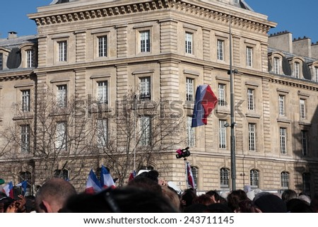 PARIS, FRANCE-JANUARY 11, 2015: Manifestation on Republic Square in Paris against terrorism and in memory of the attack against satirical newspaper Charlie Hebdo.
