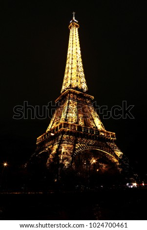 Paris, France - January 07, 2014: View of the Eiffel Tower in the evening light