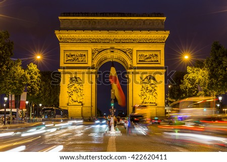 Paris, France, July 23.2015 - Arc de Triomphe in Paris, France
